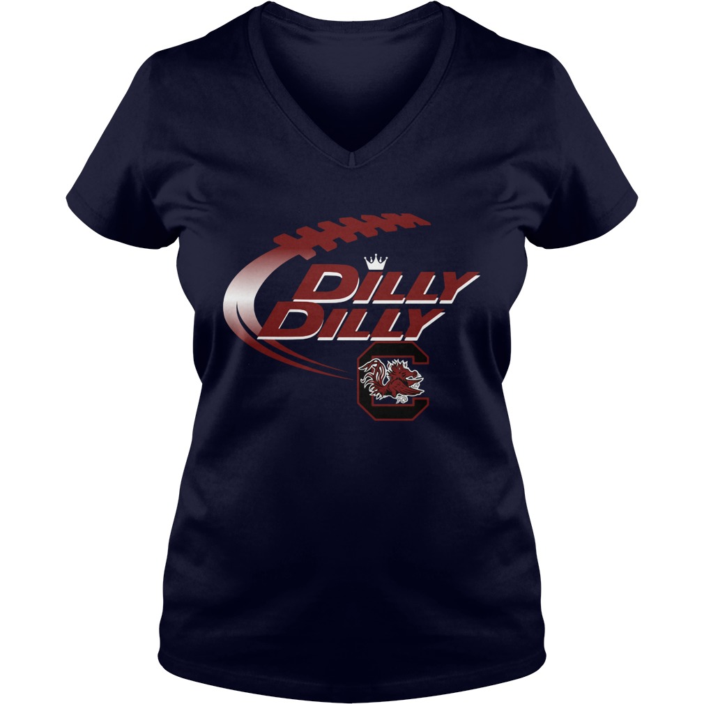 Official Dilly Dilly South Carolina Gamecocks Nfl Football Bud Light Logo V Neck T Shirt