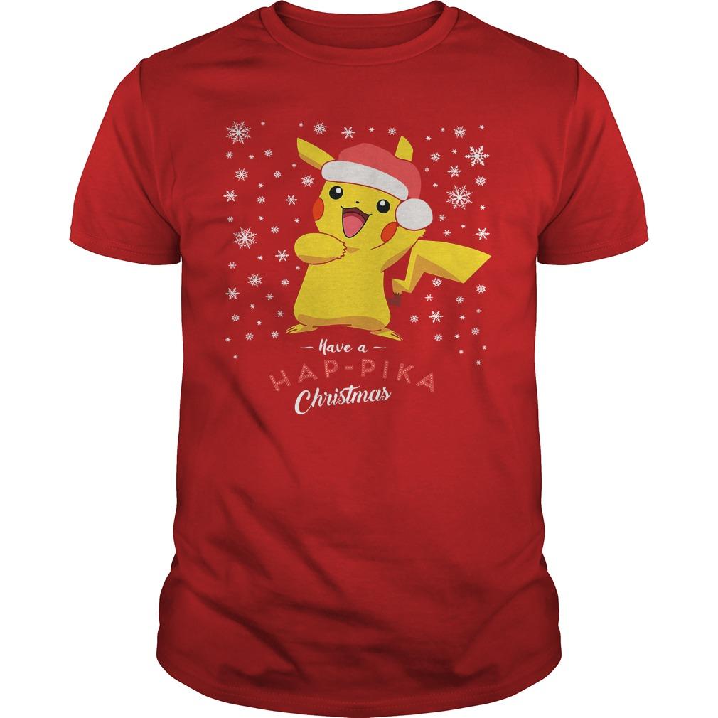 Pikachu Have A Happika Christmas Pokemon Guys shirt