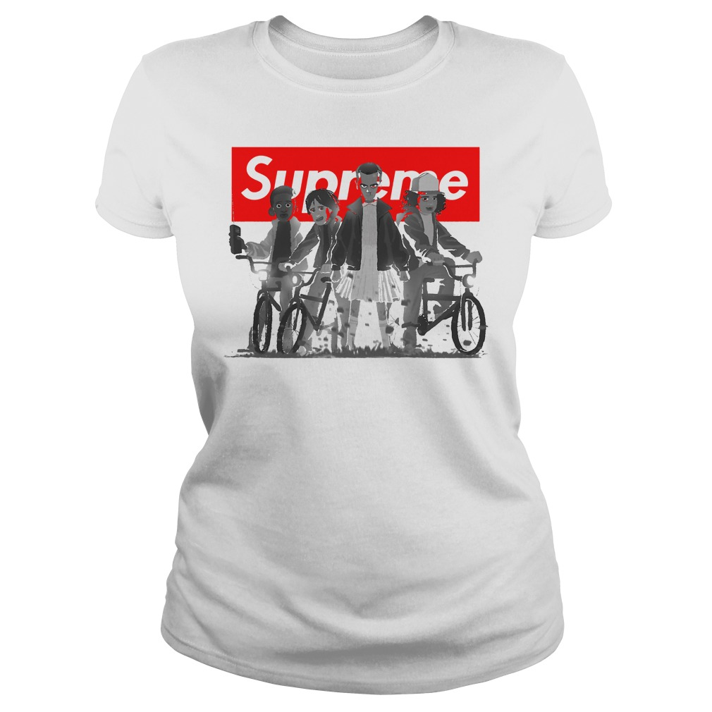 Supreme With All The Stranger Things Kids Shirt