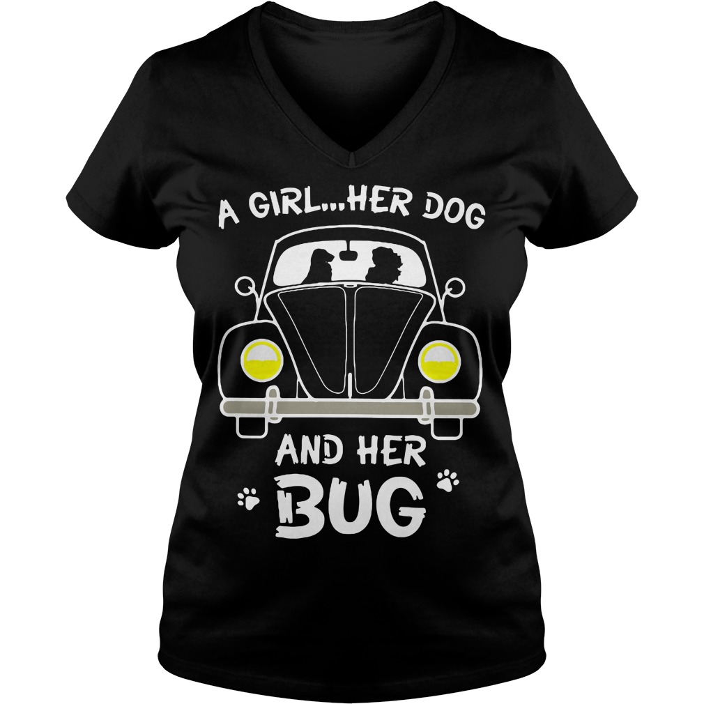 A Girl Her Dog And Her Bug V Neck T Shirt