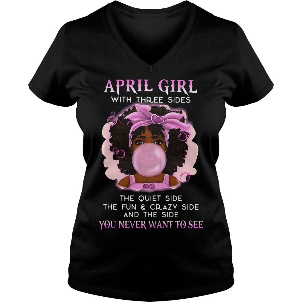 April Girl Three Sides V-neck t-shirt