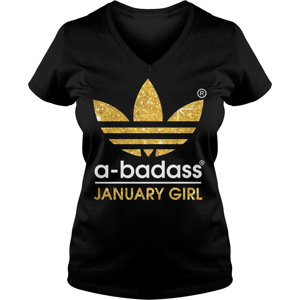 Badass January Girl V Neck T Shirt