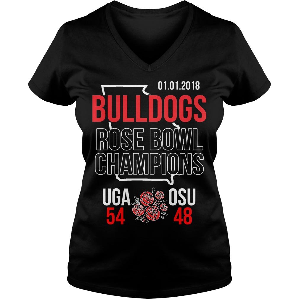 Bulldogs Rose Bowl Champions Score V Neck T Shirt