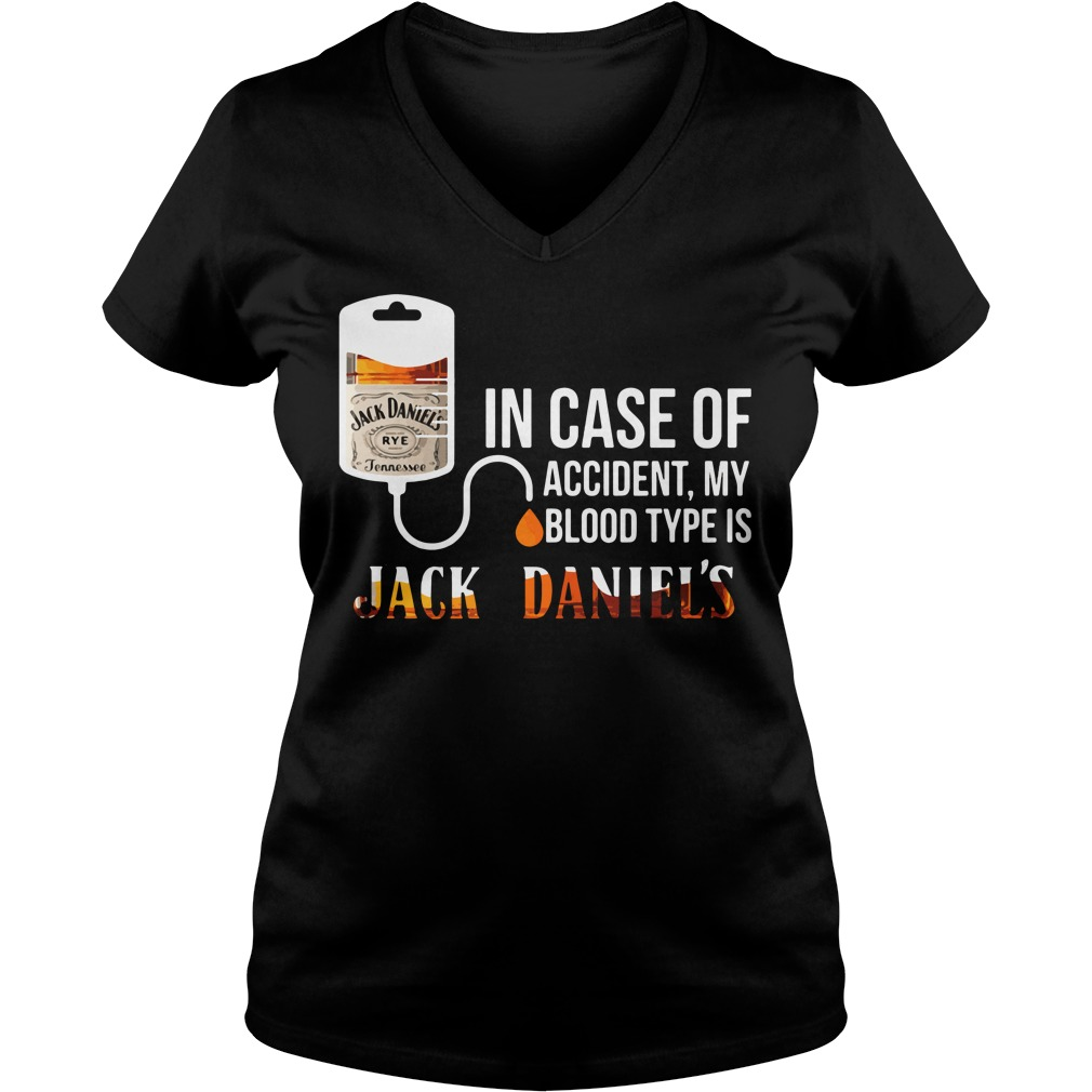 Case Accident Blood Type Jack Daniels V Neck T Shirt