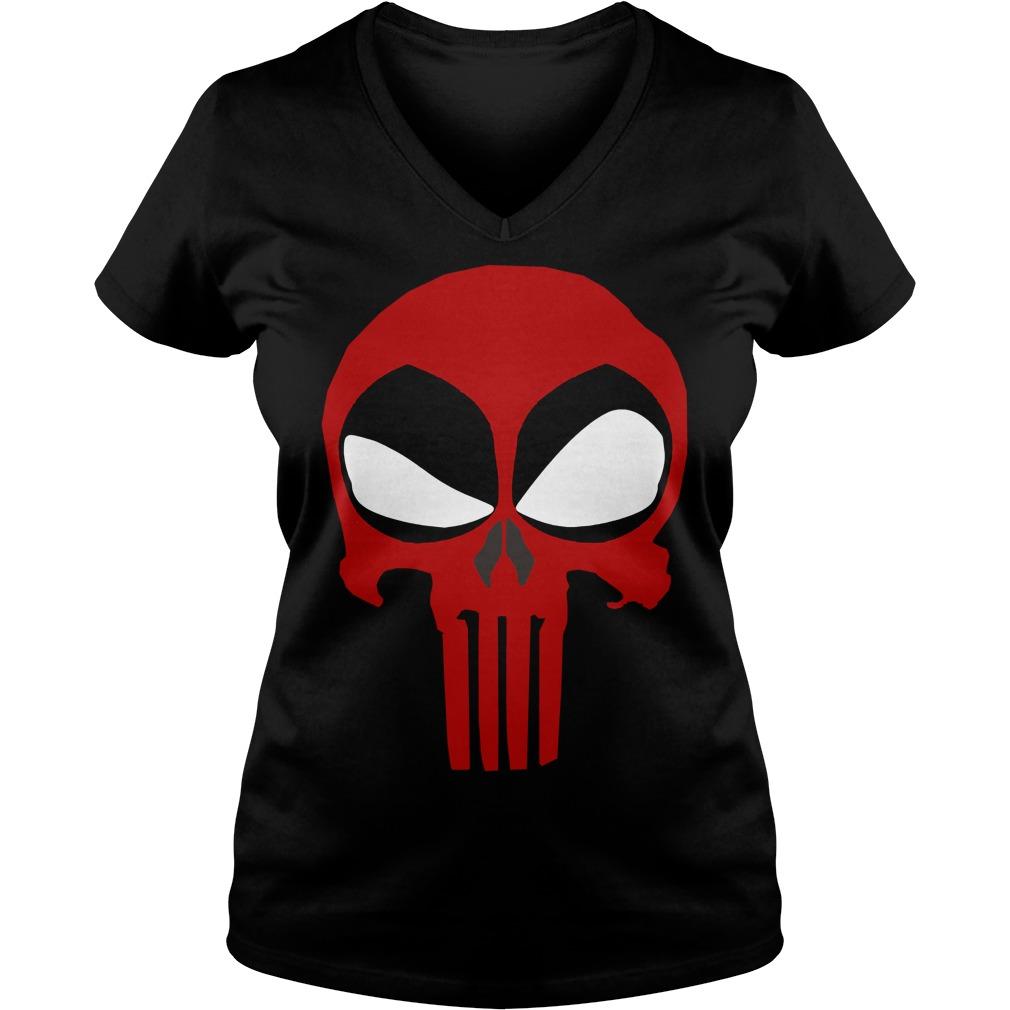 Deadpool Punisher Skull Rare V-neck t-shirt
