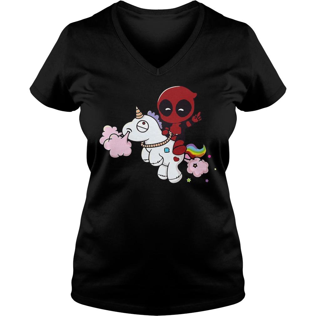 Deadpool Riding Unicorn V-neck t-shirt