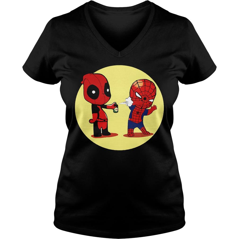 Deadpool Spiderman Superhero V-neck t-shirt