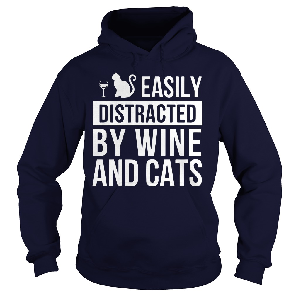 Easily Distracted Wine Cats Hoodie