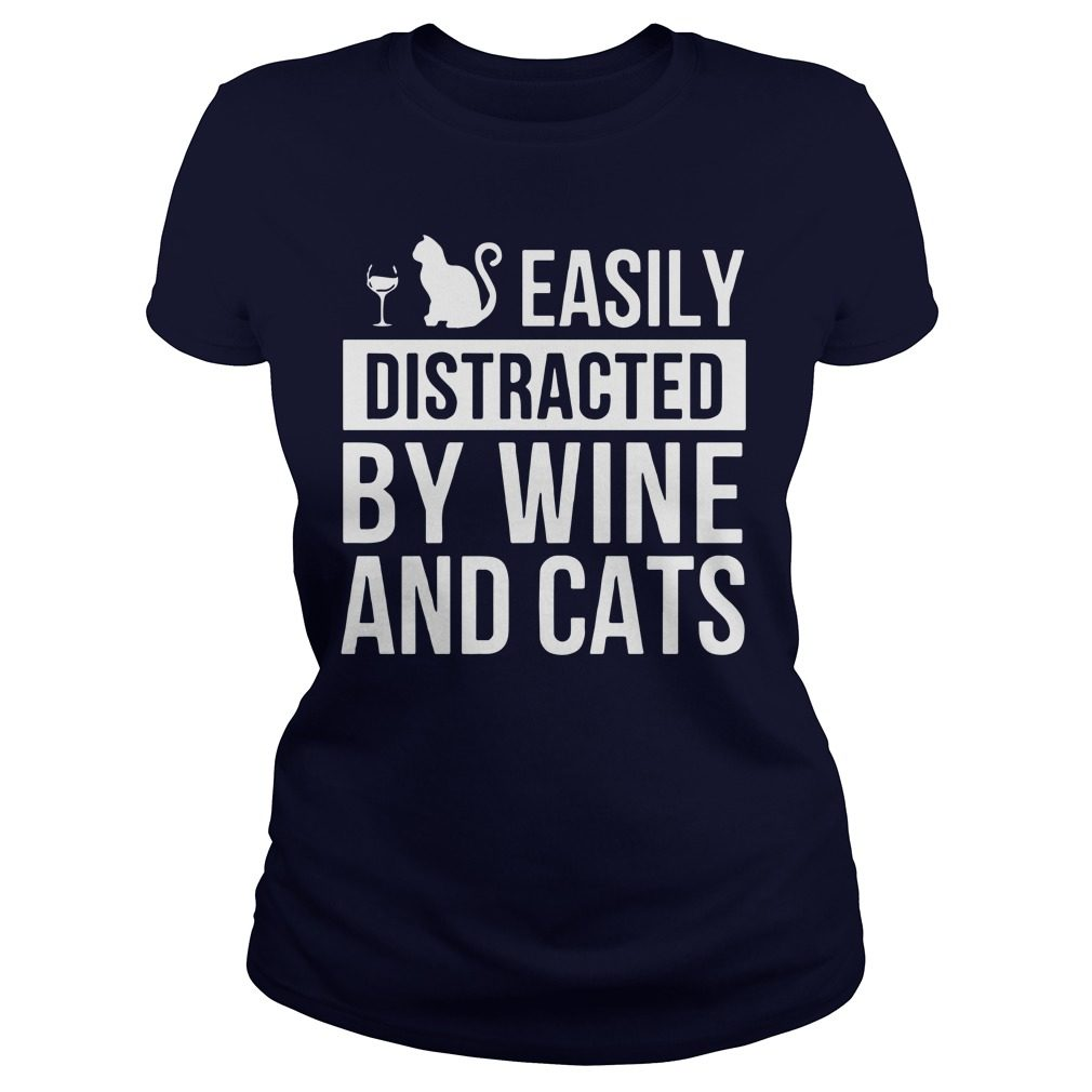 Easily Distracted Wine Cats Ladies Tee