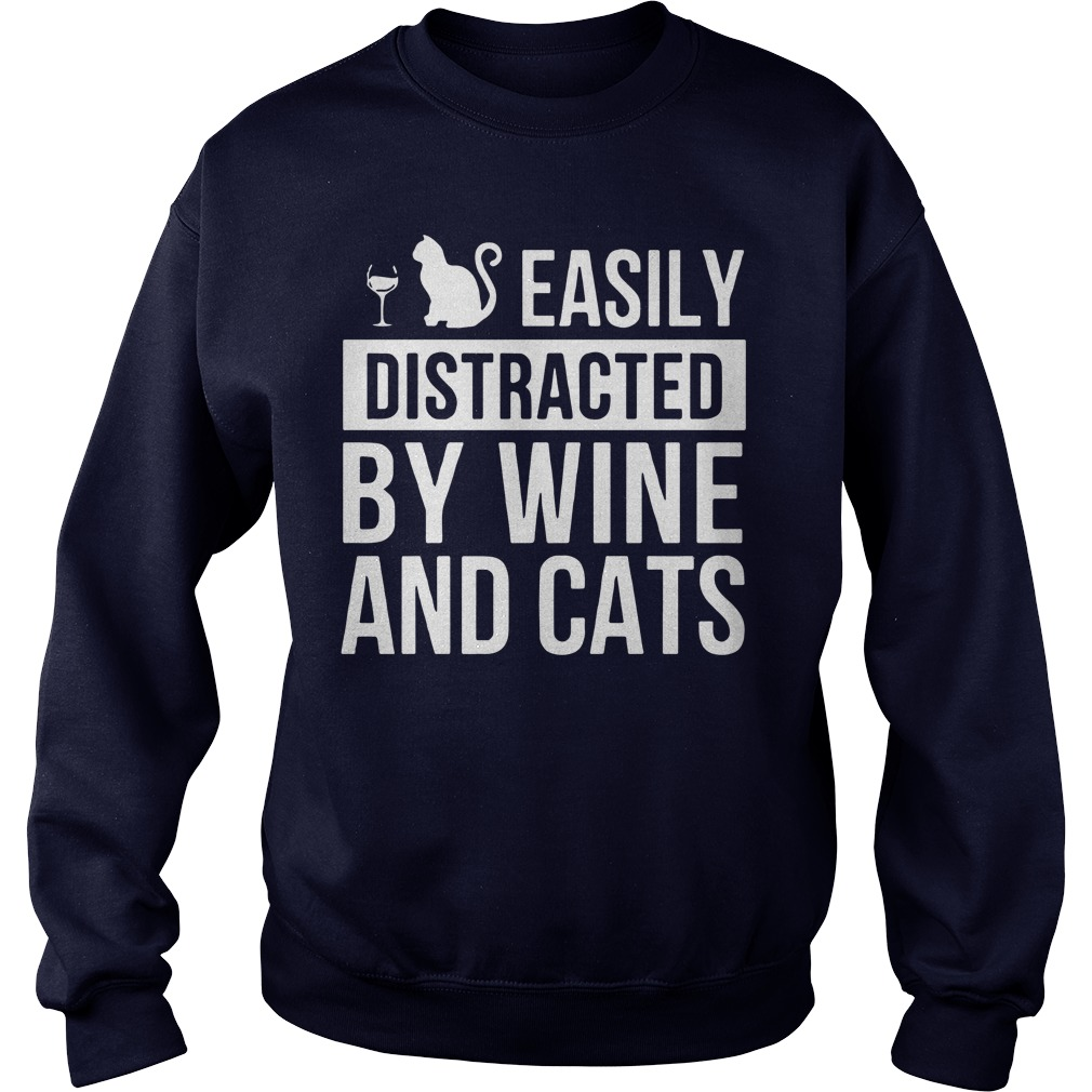 Easily Distracted Wine Cats Sweater