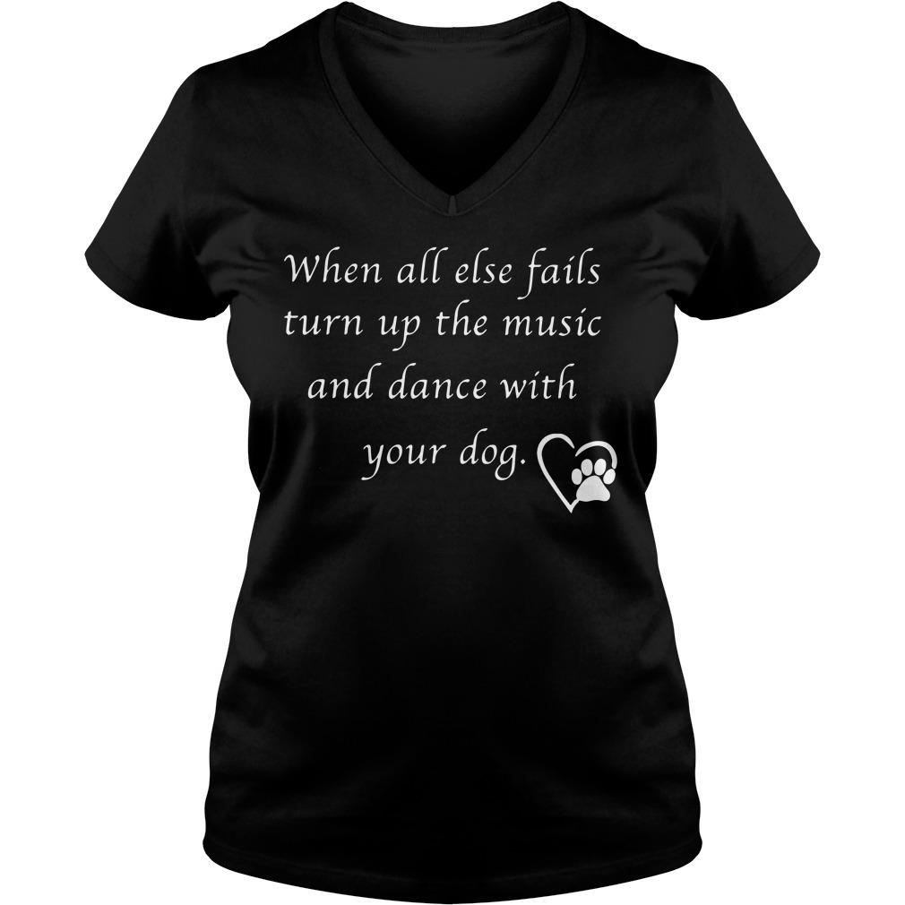Else Fails Turn Music Dance Dog V-neck t-shirt