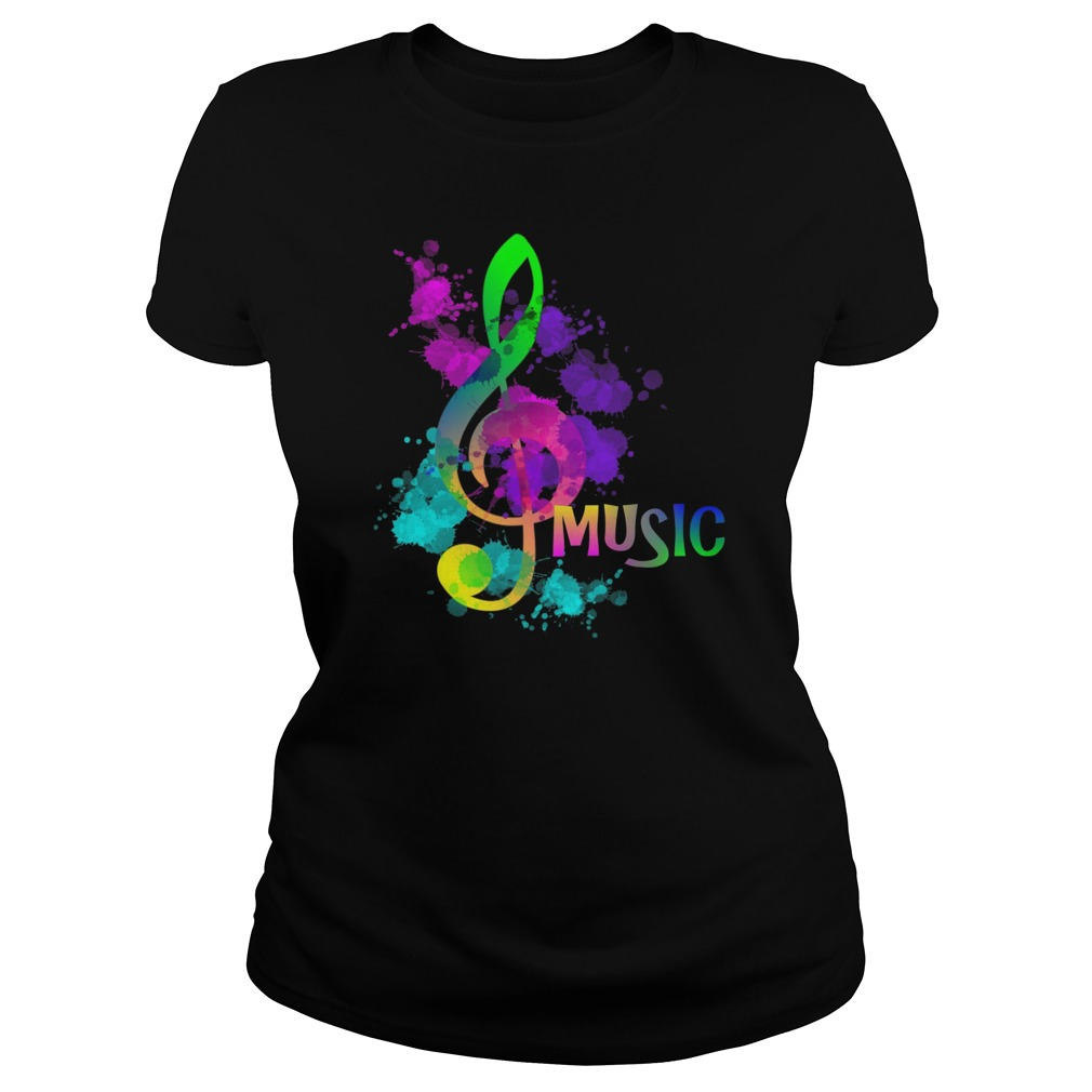 Funky Colorful Music Treble Clef Musical Note Ladies Tee