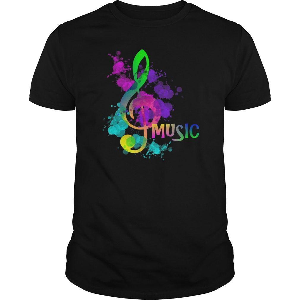 Funky Colorful Music Treble Clef Musical Note Shirt