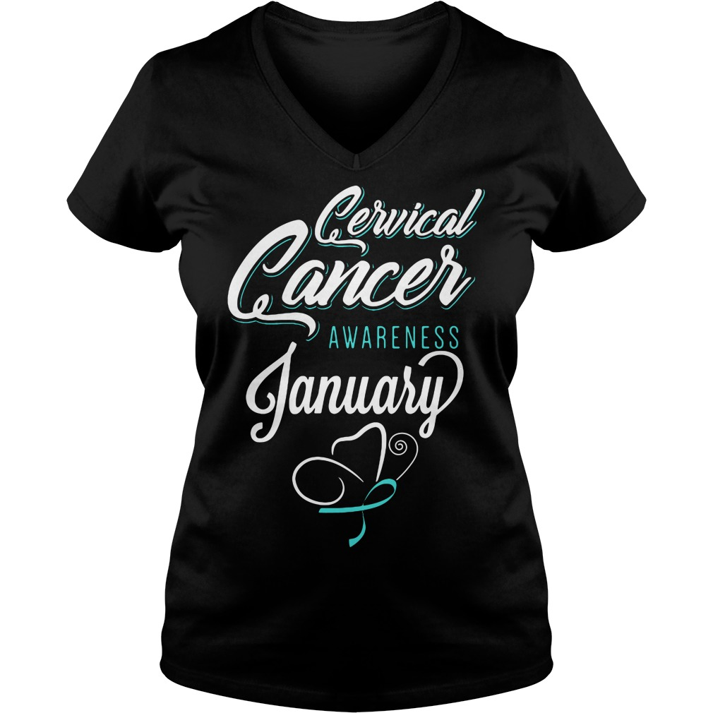 January Cervical Cancer Awareness Month V-neck t-shirt