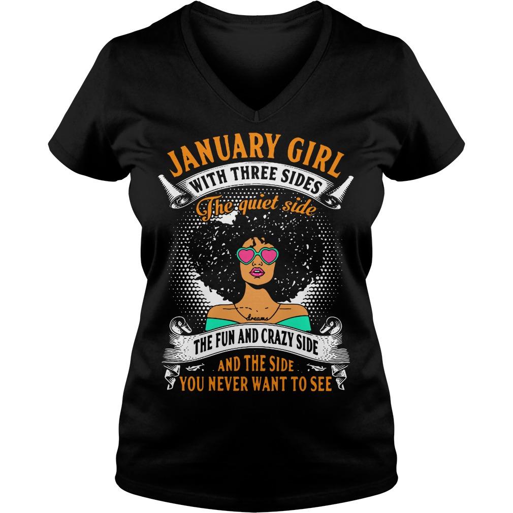 January Girl Three Sides Quiet Side Fun V Neck T Shirt