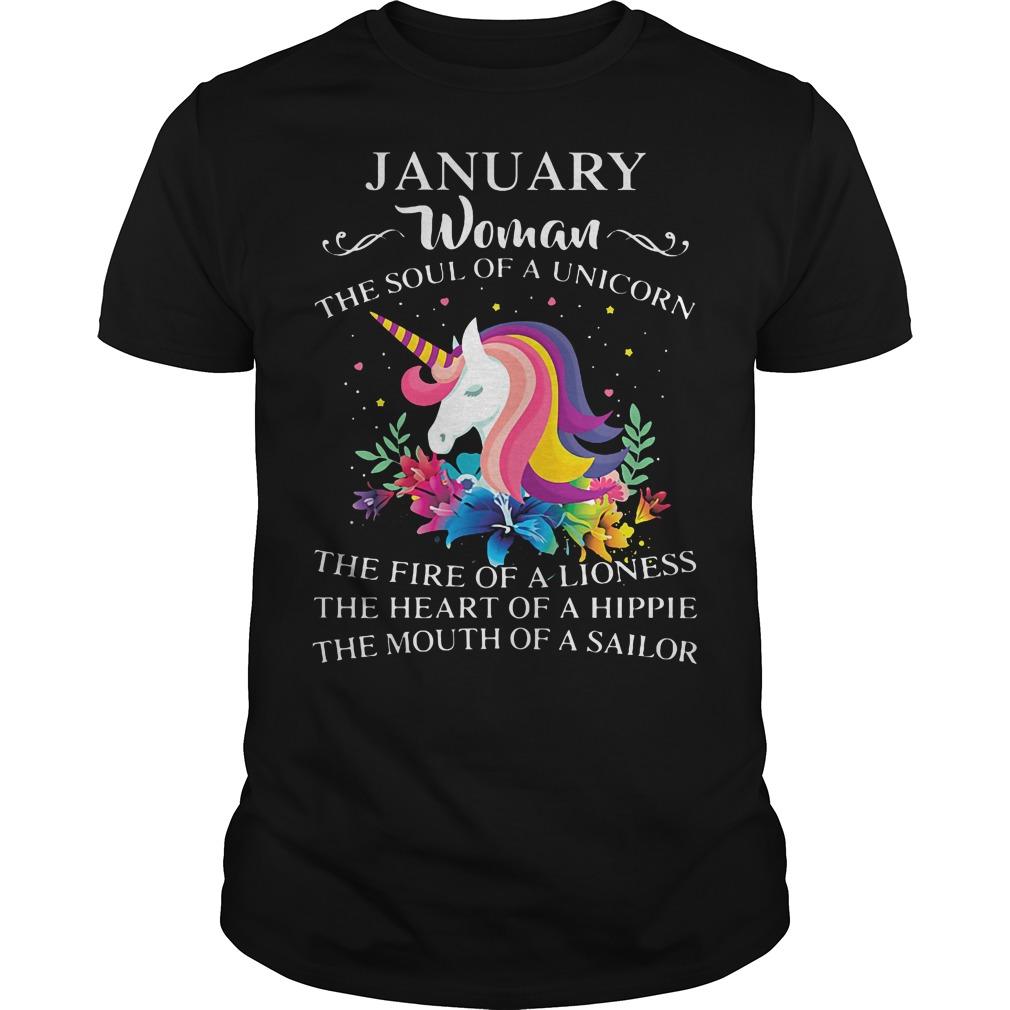 January Woman Soul Unicorn Guys Shirt