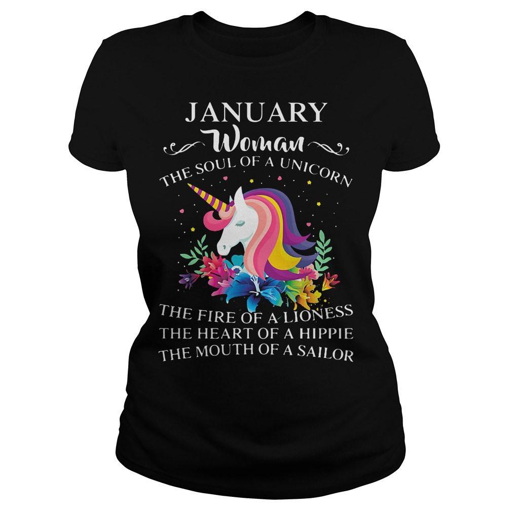January Woman Soul Unicorn Ladies Tee