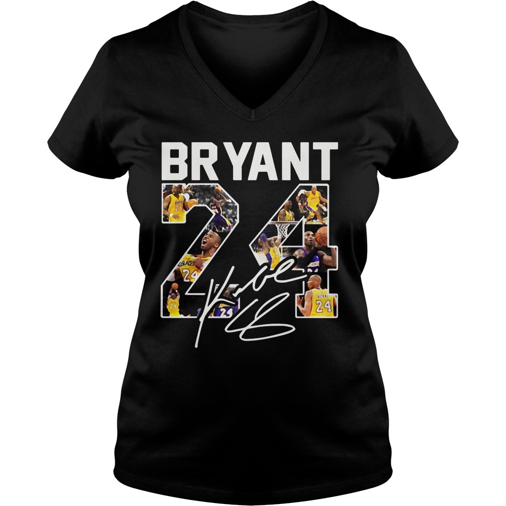 Kobe Bryant 24 Signature V Neck T Shirt