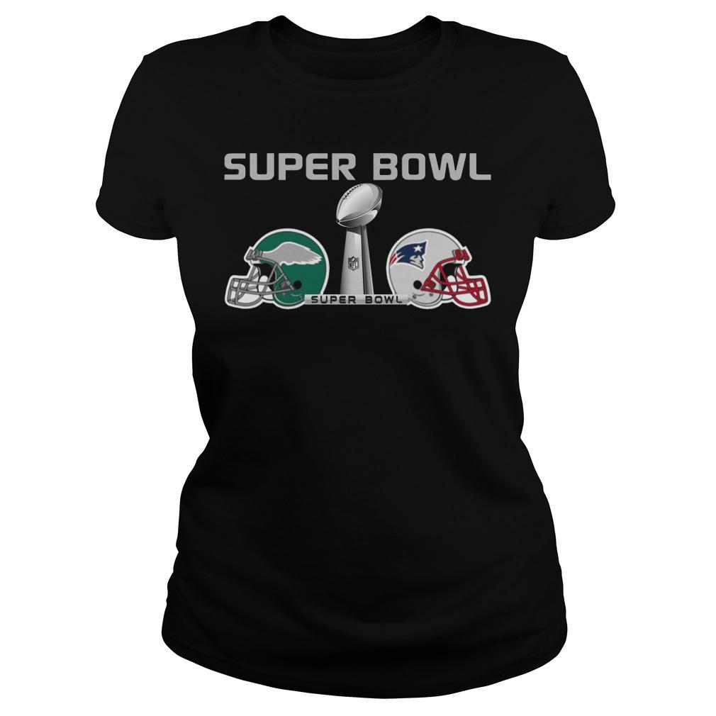 New England Patriots Fighting Philadelphia Eagles Super Bowl Lii 2018 Ladies Tee