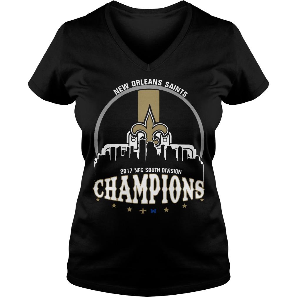 New Orleans Saints 2017 Nfc South Division Champion V Neck T Shirt