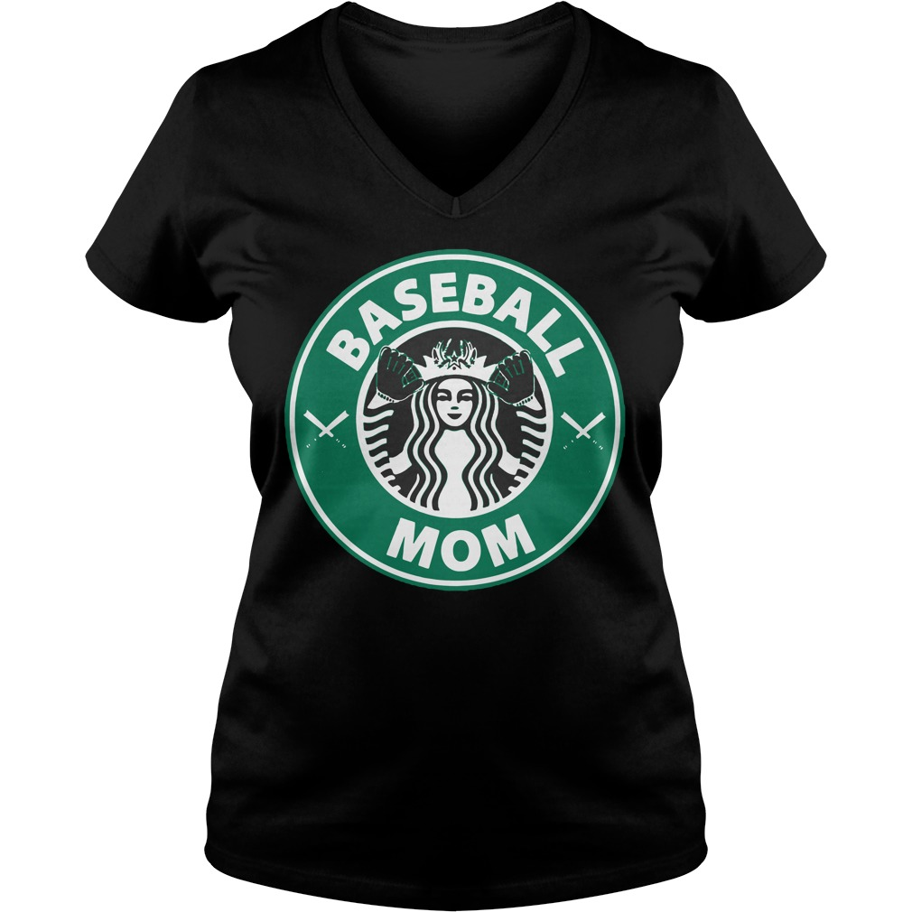 Official Starbucks Baseball Mom V Neck T Shirt
