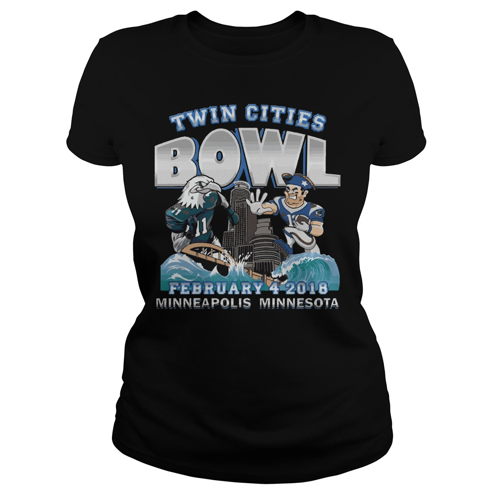 Philadelphia Eagles Vs New England Patriots Twin Cities Super Bowl Ladies Tee