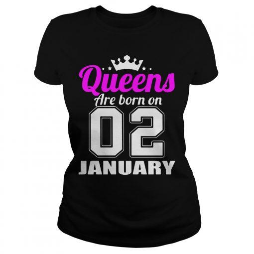 Queens Born 02 January Ladies Tee