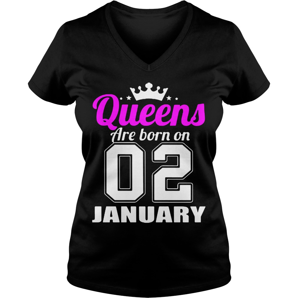 Queens Born 02 January V-neck t-shirt