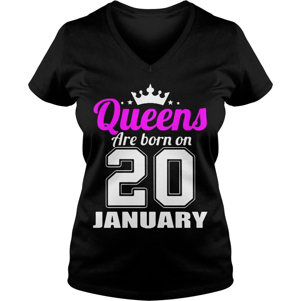 Queens Born 20 January V-neck t-shirt