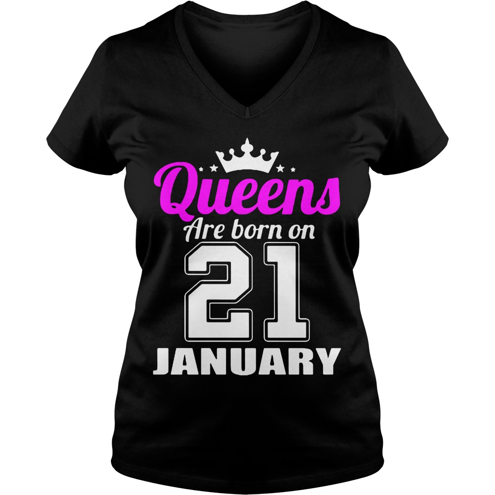 Queens Born 21 January V-neck t-shirt