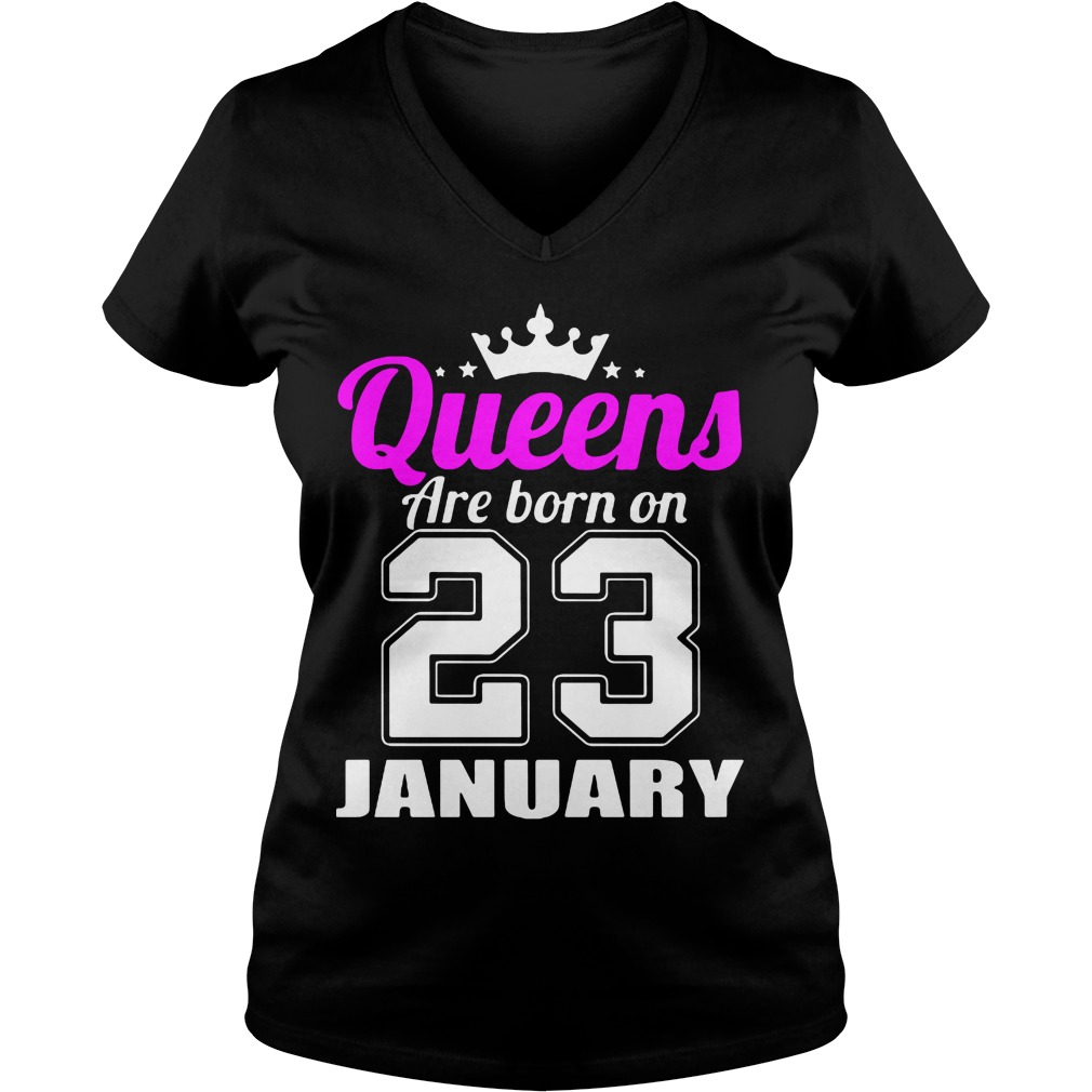 Queens Born 23 January V-neck t-shirt