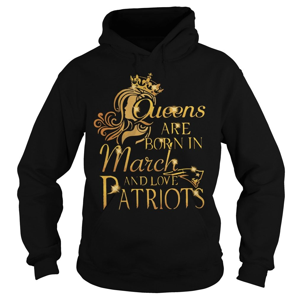 Queens Born March Love Patriots Hoodie