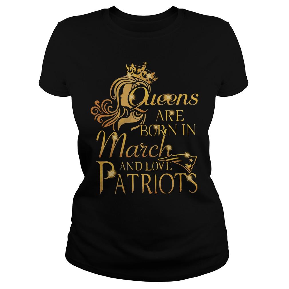 Queens Born March Love Patriots Ladies Tee
