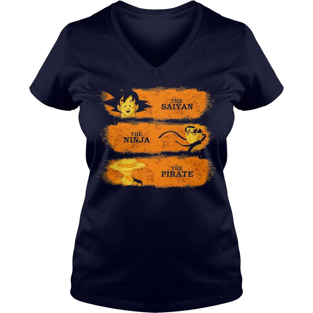 Saiyan Ninja Pirate V Neck T Shirt