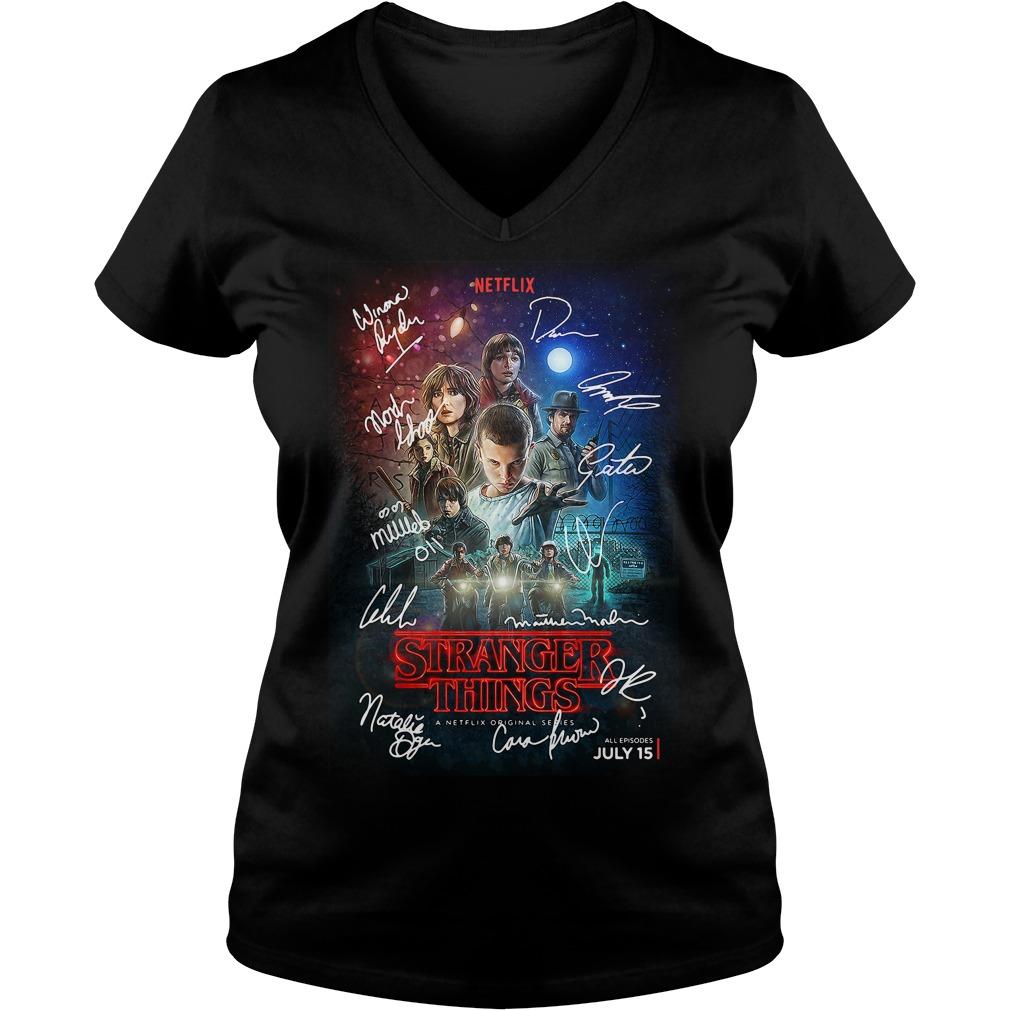 Signed Stranger Things Poster V-neck t-shirt