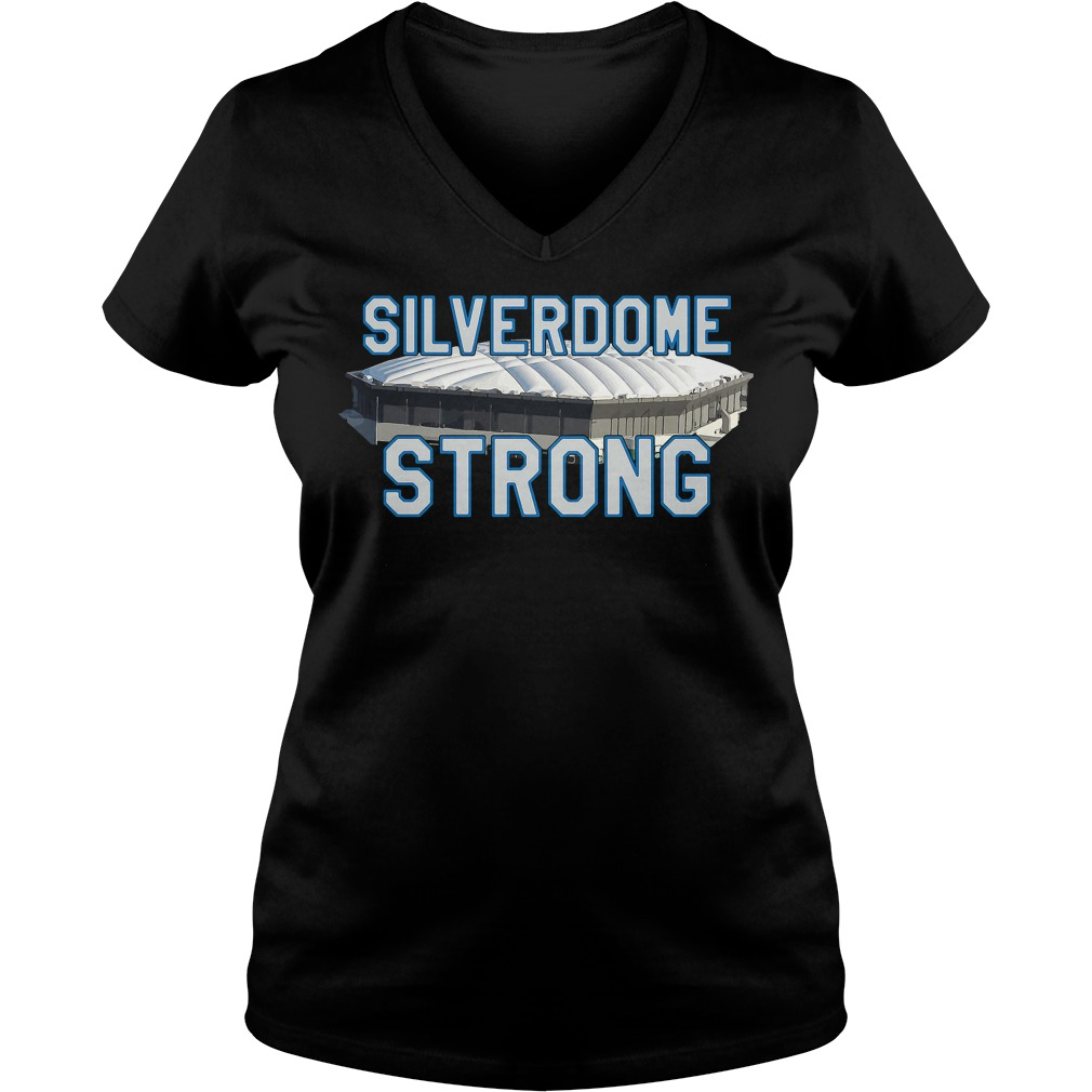 Silverdome Strong Legendary Pontiac Football Stadium Gear V-neck t-shirt