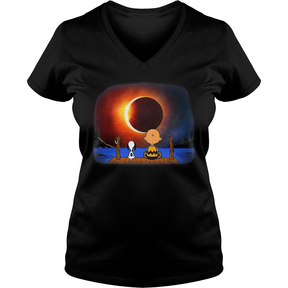 Snoopy Charlie Brown Solar Eclipse 2018 V Neck T Shirt