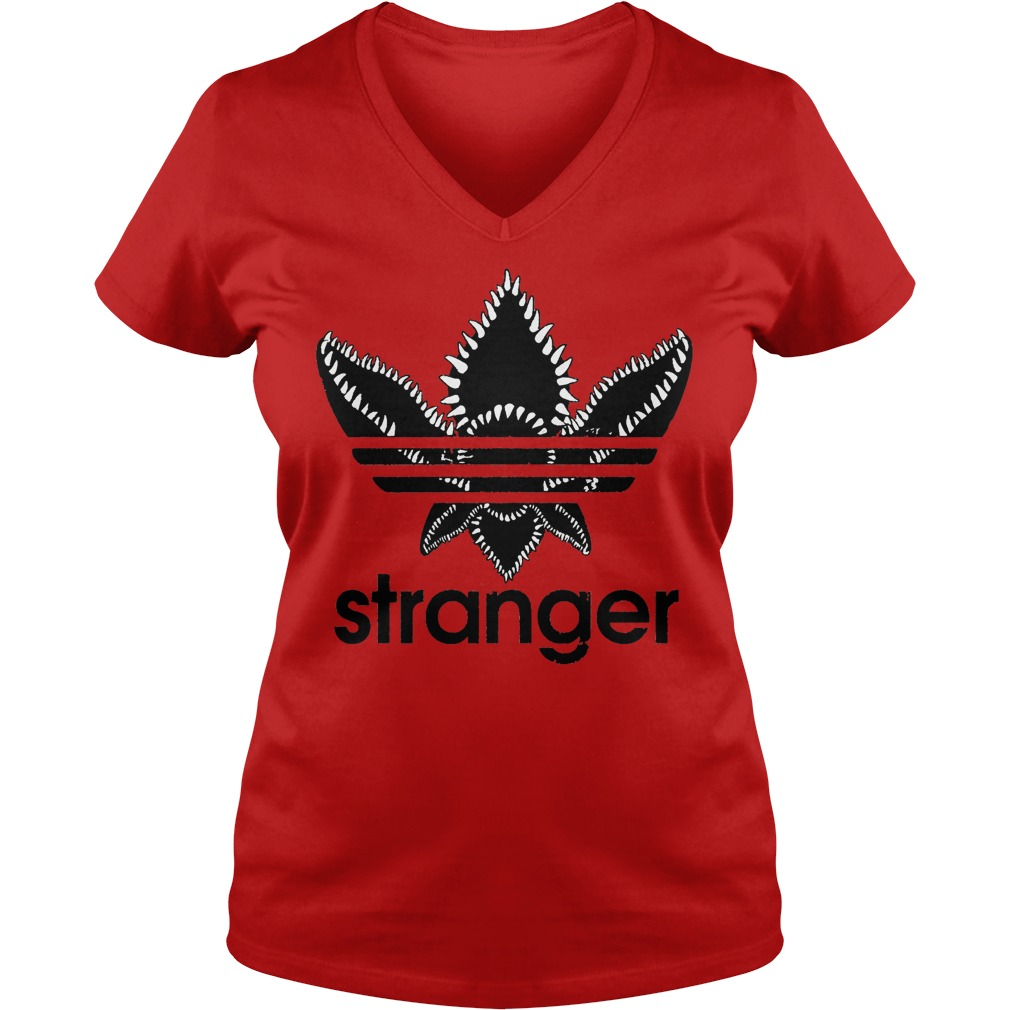 Stranger Things Adidas Black Logo V-neck t-shirt