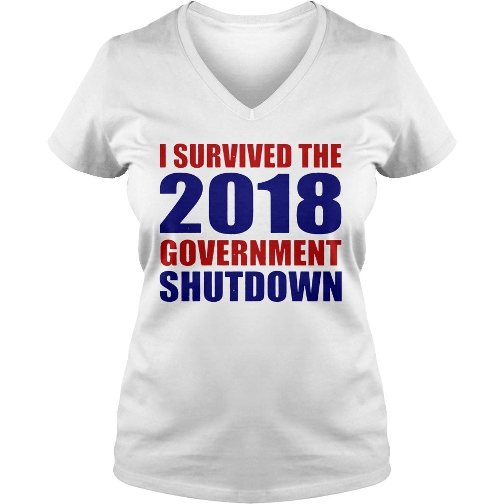 Survived 2018 Government Shutdown V-neck t-shirt