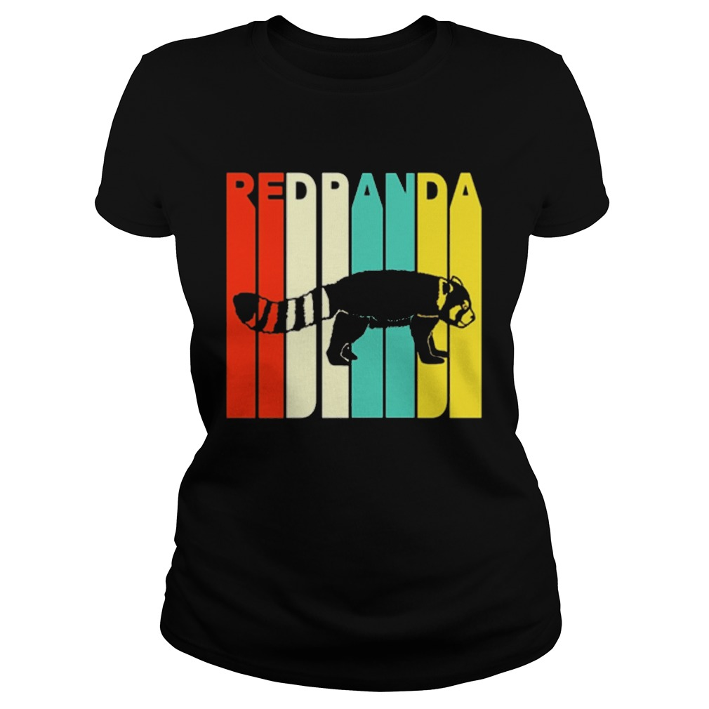 Vintage Style Red Panda Silhouette Ladies Tee