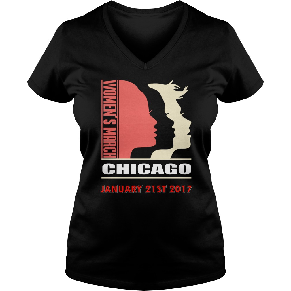 Womens March Chicago January 21st 2017 V-neck t-shirt