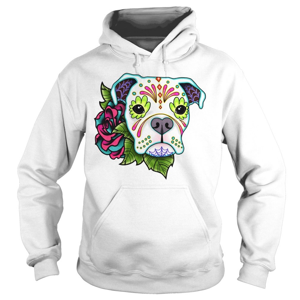 Boxer In White Day Of The Dead Sugar Skull Dog Hoodie