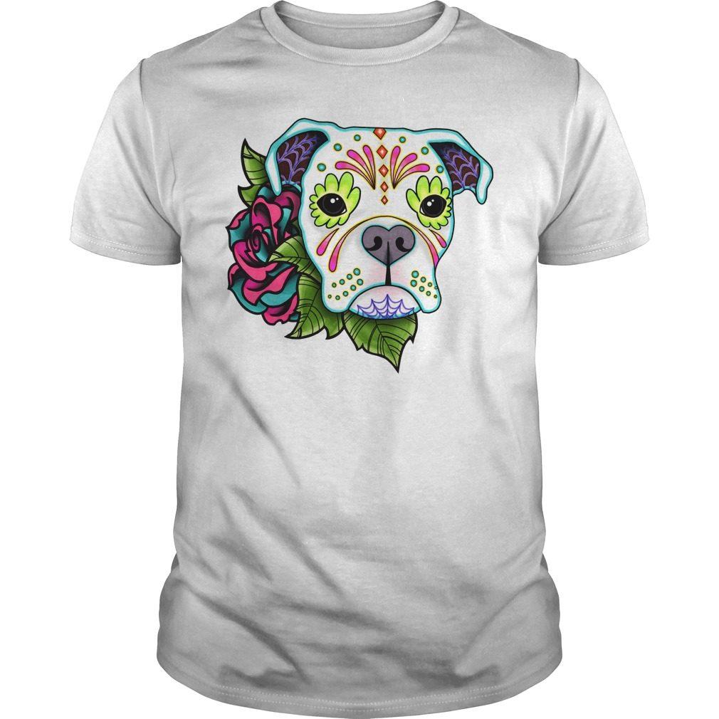 Boxer In White Day Of The Dead Sugar Skull Dog Shirt