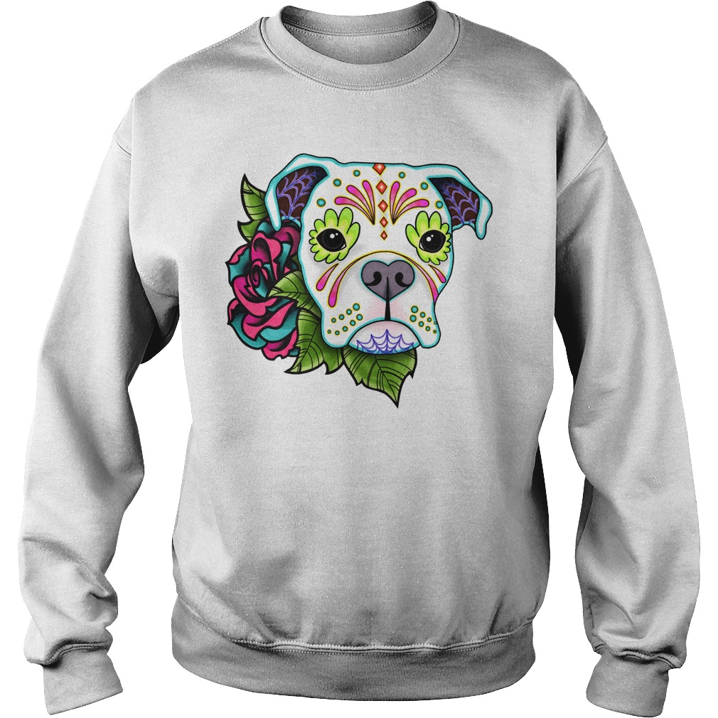 Boxer In White Day Of The Dead Sugar Skull Dog Sweater