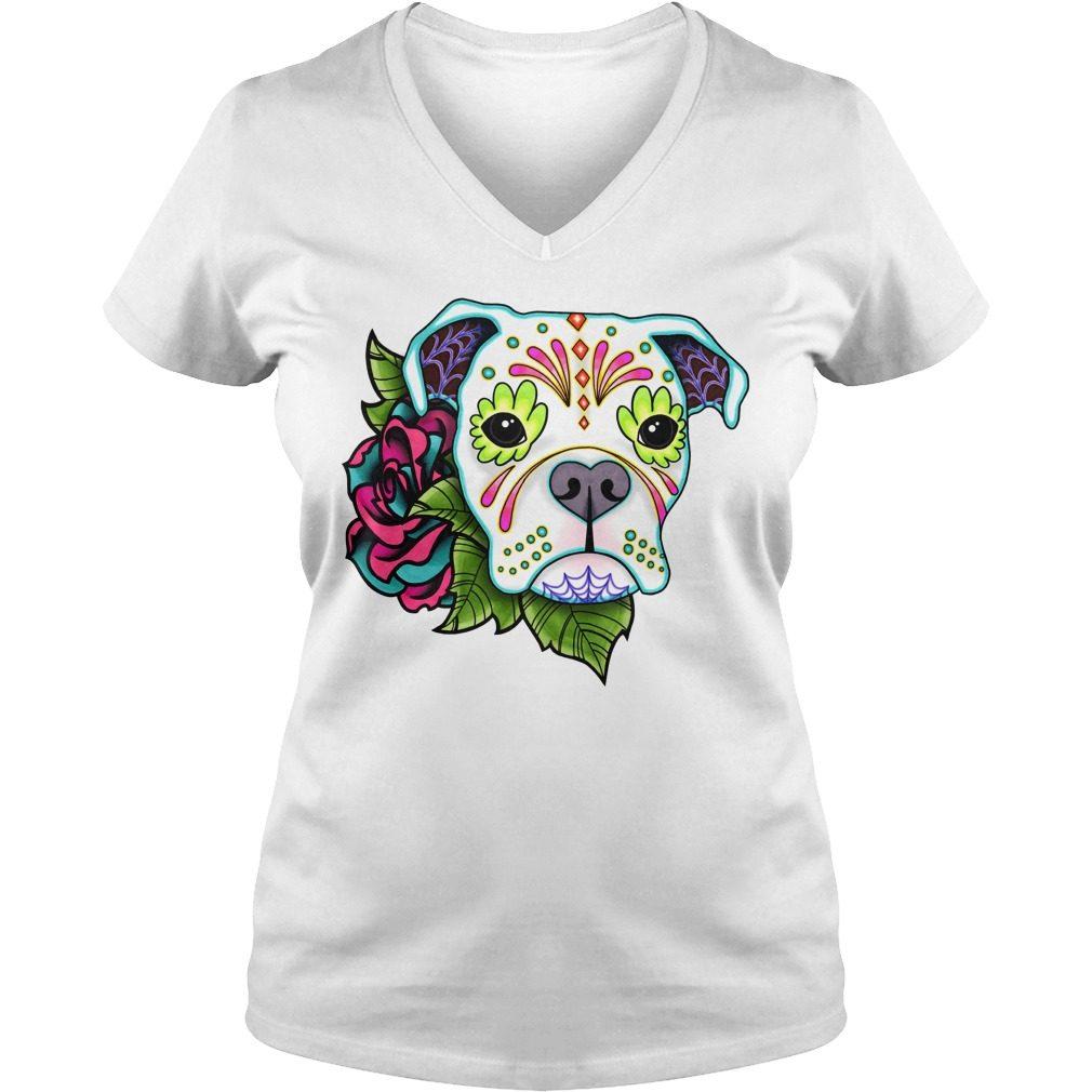 Boxer In White Day Of The Dead Sugar Skull Dog V-neck t-shirt