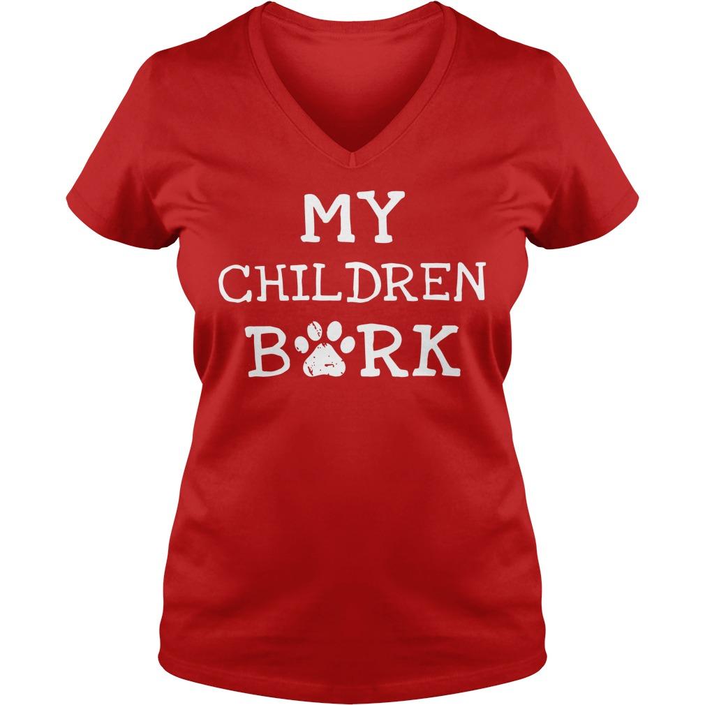 Children Bork Dog V Neck T Shirt