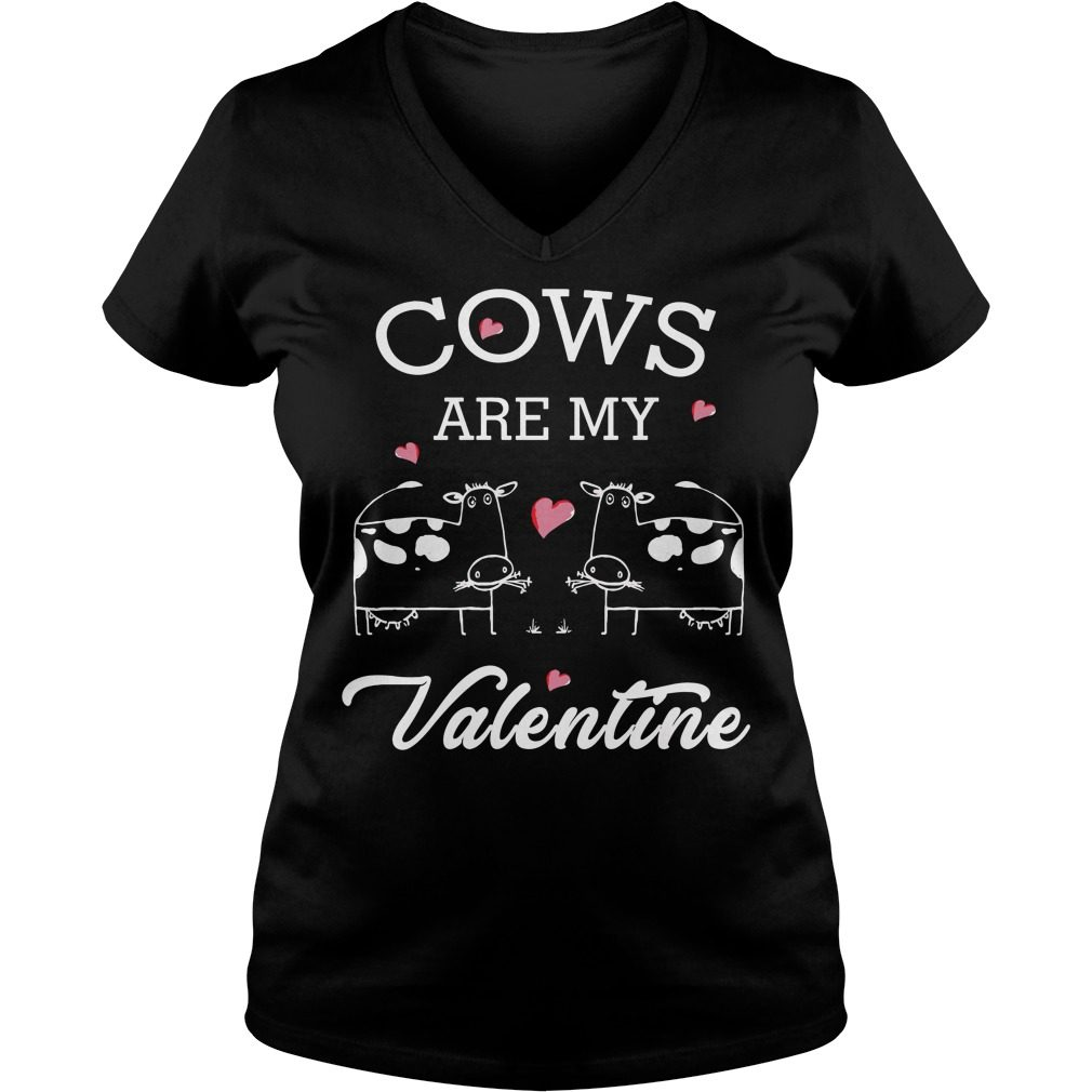 Cows Valentine V Neck T Shirt