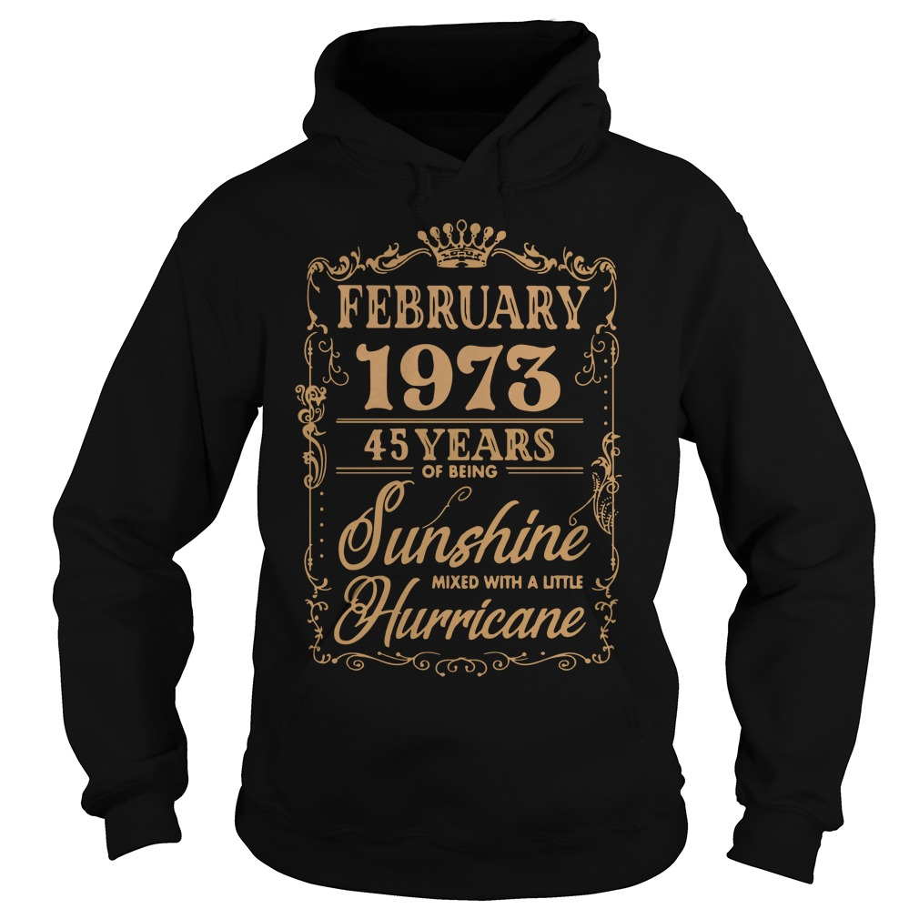 February 1973 45 Years Of Being Sunshine Mixed With A Little Hurricane Hoodie