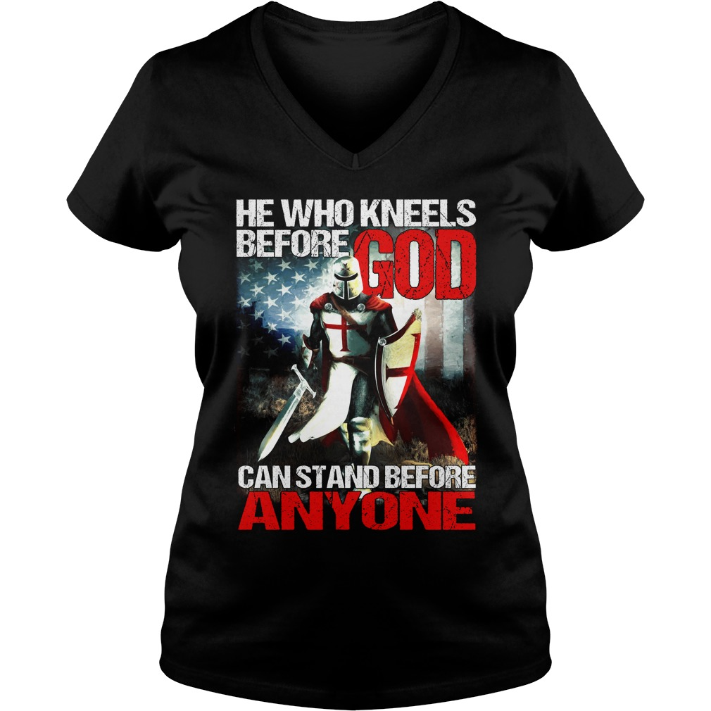I Dont Kneel Christian Crusader Knights Templar V-neck t-shirt