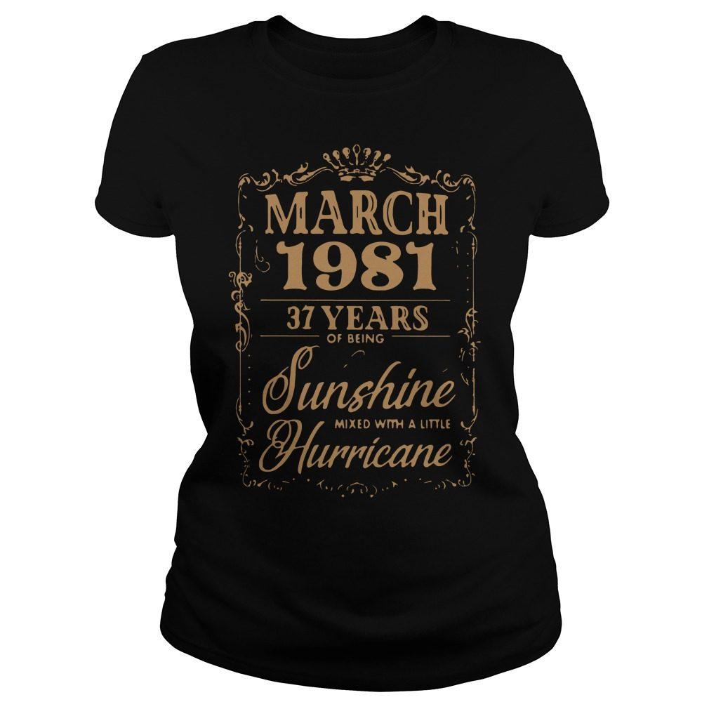 March 1981 37 Years Sunshine Mixed Little Hurricane Ladies Tee